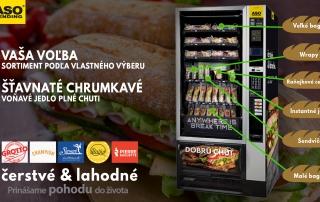 bagetomat ASO vending, bagety, wrapy, instantné jedlá, bagety, raňajky, cereálie